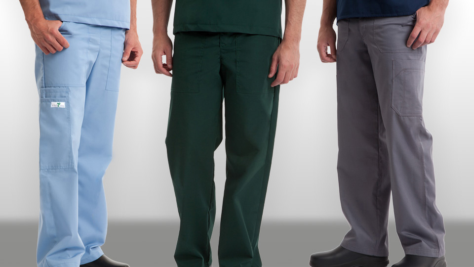Mens ceil blue scrub pants, mens hunter green scrub pants, mens pewter scrub pants